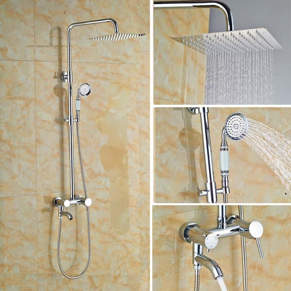 Bathroom 8 Quot Square Rainfall Shower Faucet Set Wall Mount
