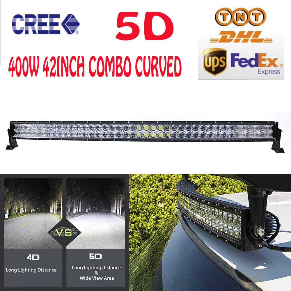 400W 42 Inch Cree Chips LED 5D Combo Work Light Bar Curved Combo External Lights Off