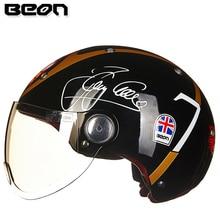 Мотоциклетный шлем BEON с полулицевой поверхностью, винтажный мотоциклетный шлем с открытым лицом, шлем для скутера, велосипедный шлем M L XL