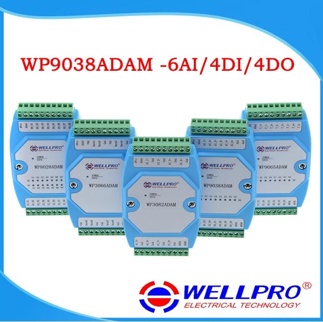 6AI  4DI  4DO 0-20MA  4-20MA  input   Digital input and output module  RS485 MODBUS RTU communication WP9038ADAM  Wellpro