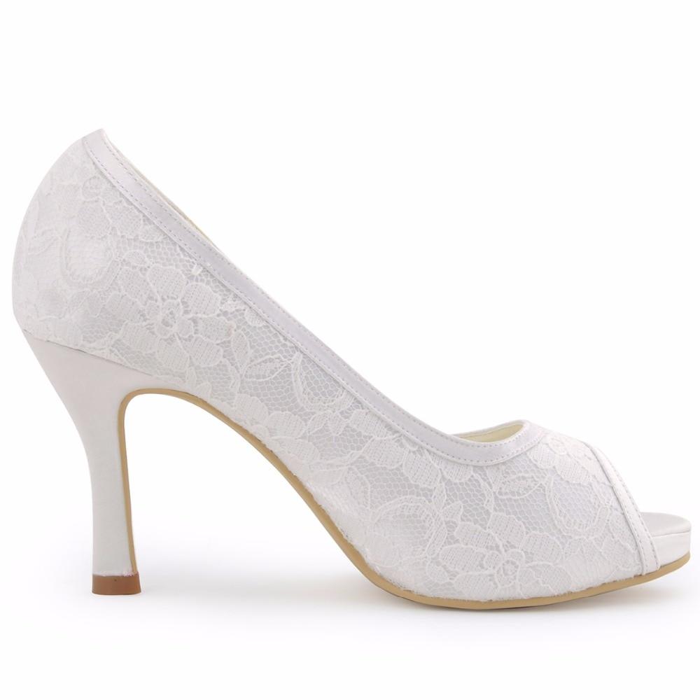 여자 신발 014 ip 화이트 아이 보 리 레이스 신발 높은 뒤꿈치 펌프 여성 결혼식 신발 신부 편안한 신부 발 뒤꿈치 플랫폼-에서여성용 펌프부터 신발 의  그룹 3
