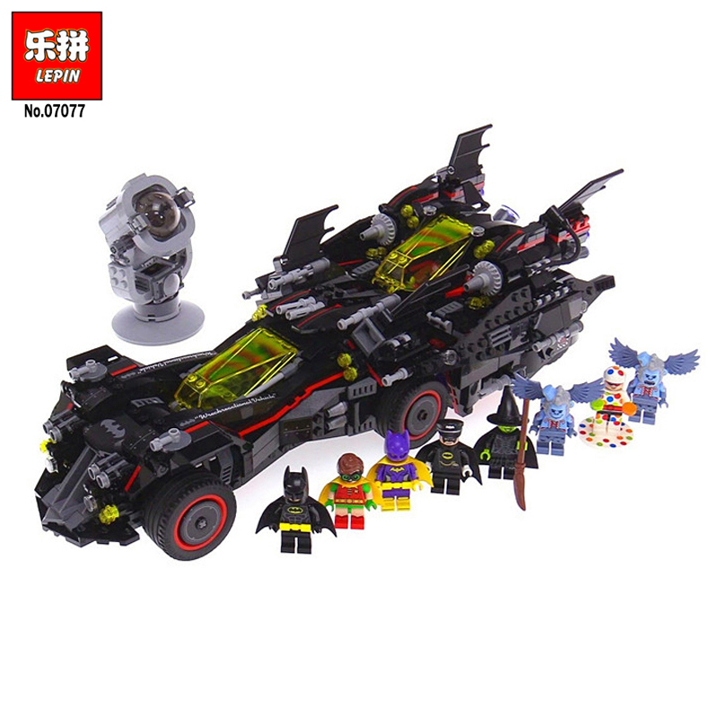 Lepin 07077 Movie Series 1496Pcs The Ultimate Batmobile Action Model Sets Batman LegoINGly 70917 Building Blocks Bricks Toys 07077 1496pcs batman movie series the ultimate batmobile set diy toys educational building blocks compatible with 70917 lepin