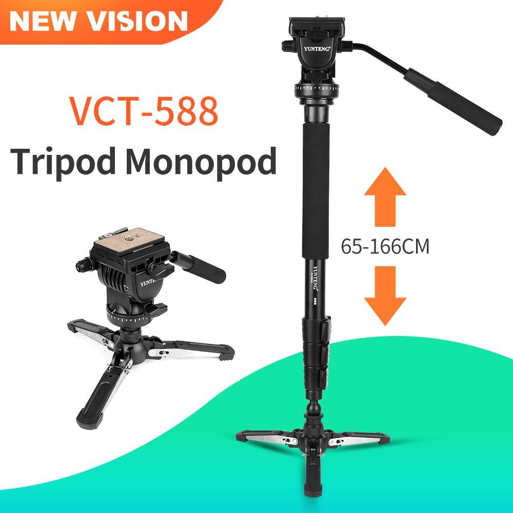 YUNTENG VCT 588 trépied monopode extensible télescopique avec trépied amovible support Base fluide tête de traînée pour caméscope caméra-in Trépieds from Electronique    1
