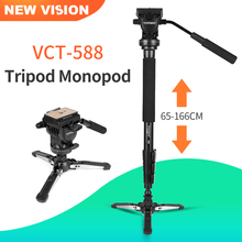 Yunteng VCT 588 Statief Monopod Uitschuifbare Telescopische Met Afneembare Statief Stand Base Fluid Drag Head Voor Camera Camcorder