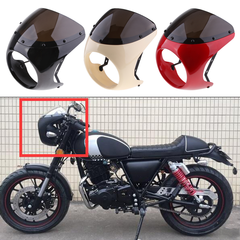 Retro Cafe Racer Style 7'' Headlight Lamp Handlebar Fairing Windshield Universal Faro Carenado Parabrisas