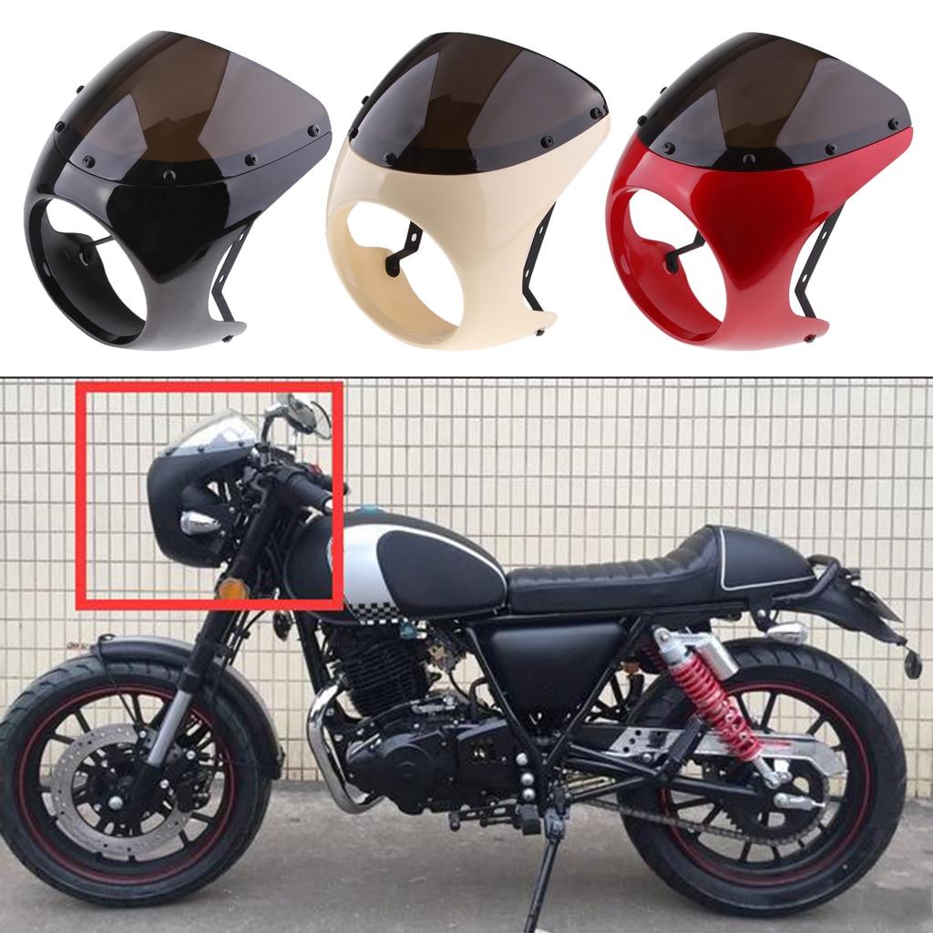 Retro Cafe Racer Style 7'' Headlight Lamp Handlebar Fairing Windshield Universal Faro Carenado Parabrisas
