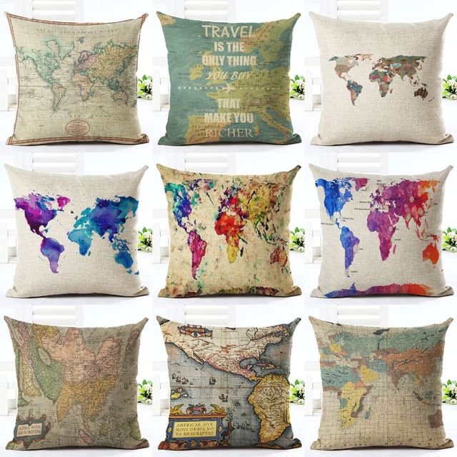 vintage carte du monde style motif coussin couverture de. Black Bedroom Furniture Sets. Home Design Ideas