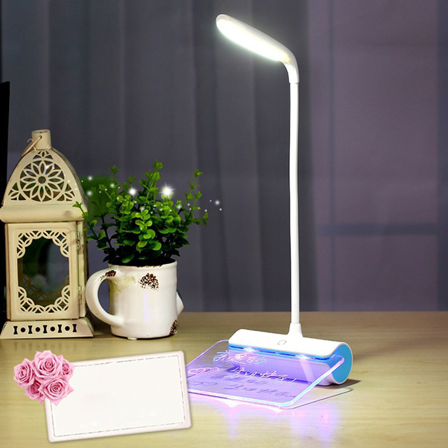 LumiParty LED Desk Lamp + Message Board, Dimmable USB Rechargeable Table  Light With Touch Switch