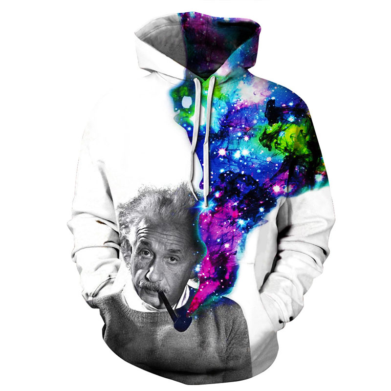 2017 Hoodies Women Hombre Hip Hop Mens Brand 3D Printed Einstein Smoking Colorful Smog Hooded Hoodie Sweatshirt Men Hoody