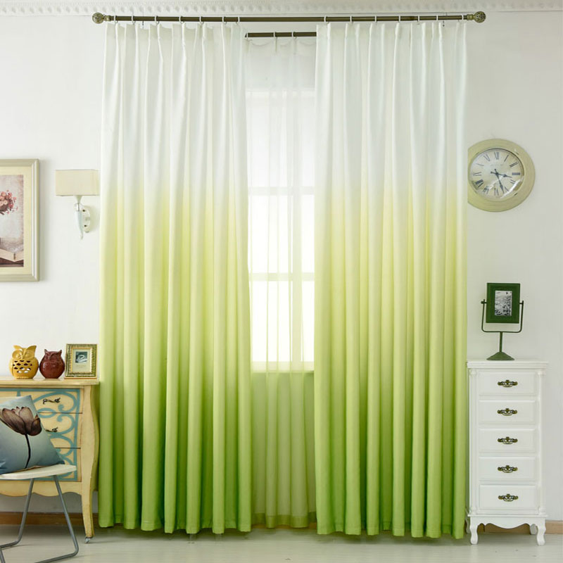 awesome light green living room curtains   2018 Hot Green Color Solid Curtain Gradient Ramp Window ...