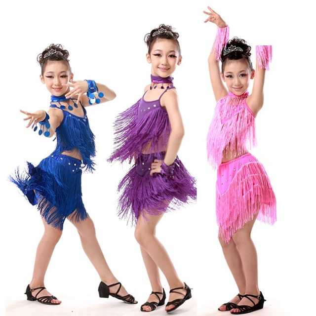 15bf7229ede4 Cheap Sexy Pink Blue Red Sequin Fringe Salsa Dancewear Child Girls ...