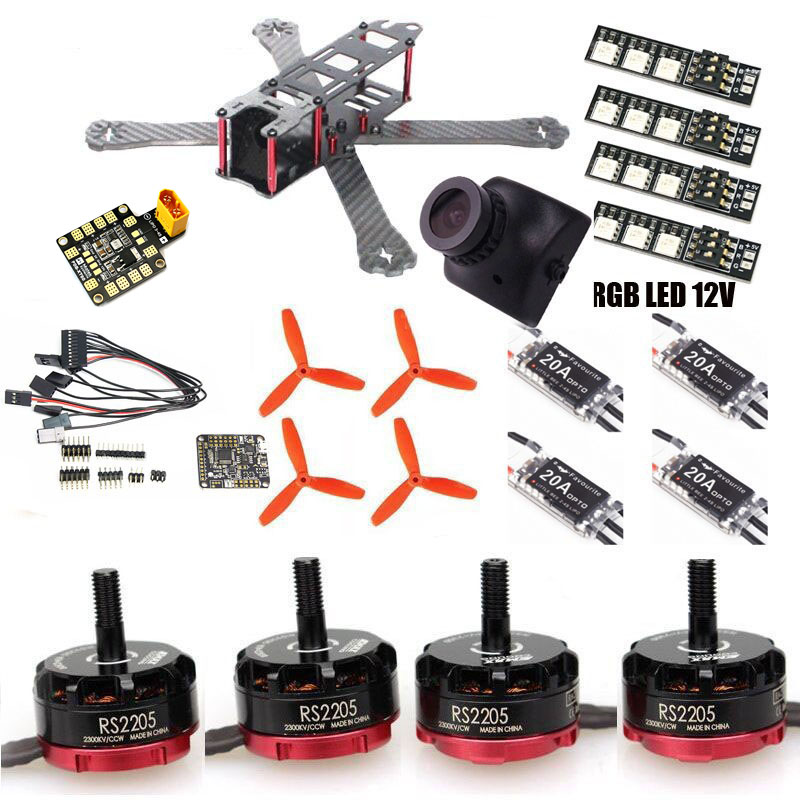 FPV drone QAV-R quadcopter pure carbon frame kit XT60 PDB EMAX RS2205 little bee 20A ESC 2-4 S F3Rev6 RGB LED 12V rc plane qav zmr250 3k carbon fiber naze 6dof rve6 rs2205 favourite 20a emax