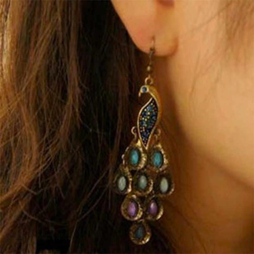 fe1d83d5549bf3 2018 Fashion Jewelry Vintage Earrings National Wind Peacock Wild  Temperament Crystal Long Earrings Women Elegant Earrings