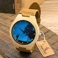 Bobo bird mens relógios de madeira moda dial japão movimento 2035 Relógios de quartzo com Pulseira De Couro Real em Gift Box Grátis grátis