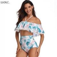 New Hang a Neck Bikini Set Swimwear Female Printing Two Pieces Women Swimsuit High Waist Bikini Flower Side Bathing Suit Biquini