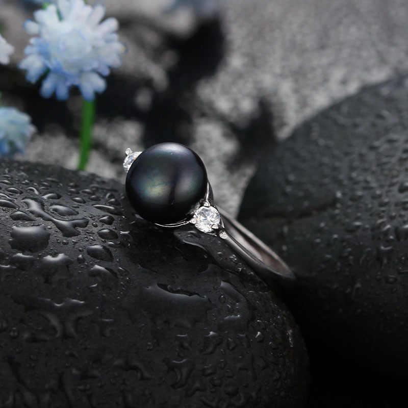 Dainashi Bán Buôn Ngọc Trai Đen Nhẫn Elegant 925 silver ring phụ nữ fashion jewelry 8-9 mét màu đen ngọc trai điều chỉnh vòng