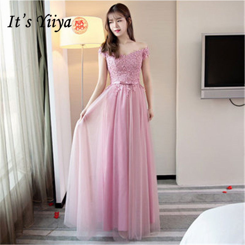 It's YiiYa Fashion Lace Pure Color   Bridesmaid     Dresses   Elegant Back Lace Up A-line Floor-length   Dress   B028