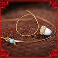 Vintage pingentes Colar fashuon simples cerâmica colar de pedra, jóias de cerâmica étnica colar de cogumelo