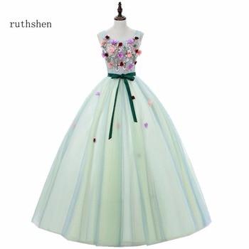 4a92365c8 Ruthshen dulce 16 adolescentes vestidos de quinceañera 2018 flores verde  menta baile vestido de fiesta vestidos barato Formal vestidos fiesta