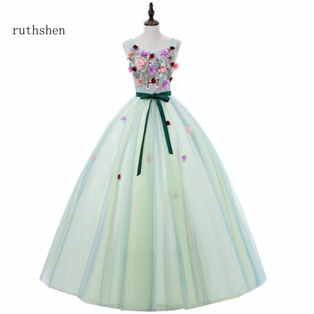 ruthshen Sweet 16 Teens Quinceanera Dresses 2018 Flowers Mint Green Debutante  Ball Gown Prom Dresses Cheap Formal Party Gowns 81904fa5bd17