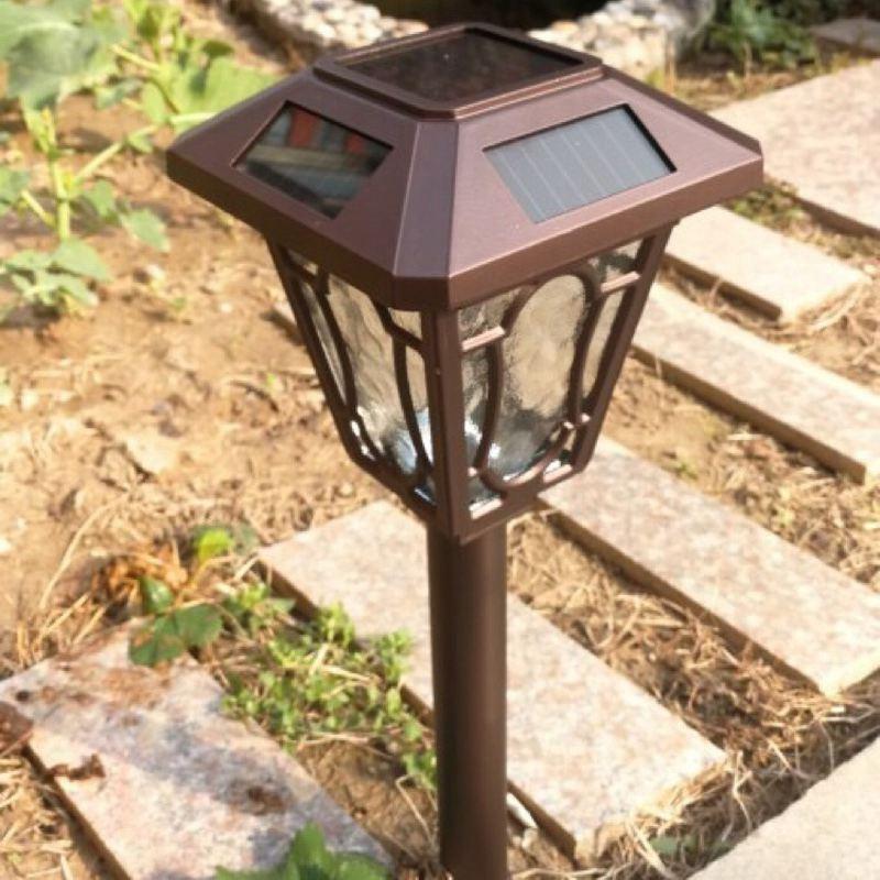 Säule LED Solar Powered Freien Garten Lampen Rasen Pathway Lampe Kaffee Aluminium Gehäuse LED Hof Solar Lichter zebra crossing - 2