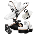 AULON Baby Stroller 3 In 1 Luxury High Landscape Travel System Baby Pram 360 Rotation Pushchair with Bassinet and Car Seat