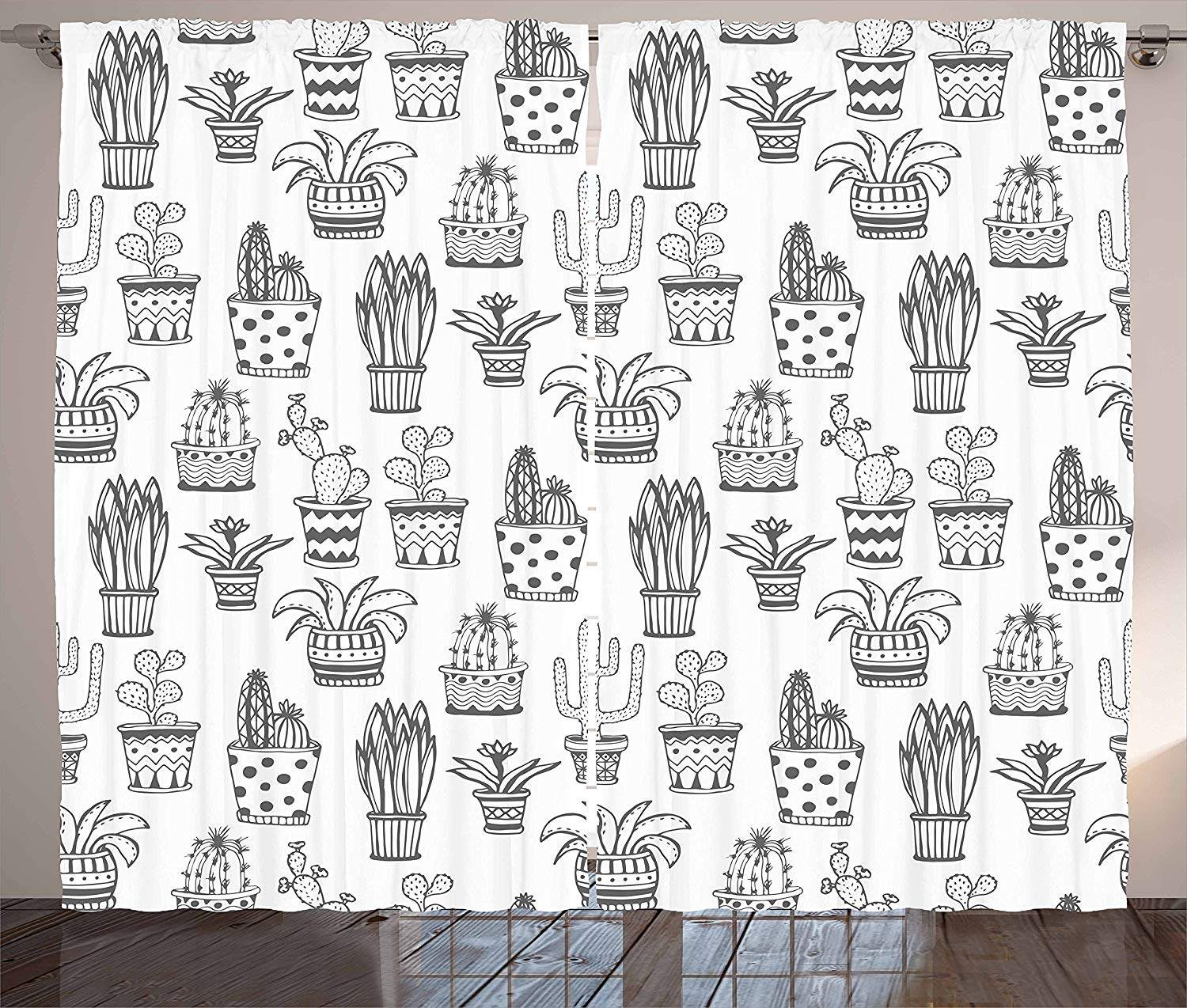 Cactus Kitchen Curtains Doodle Flowers In Pots With Polka Dots And