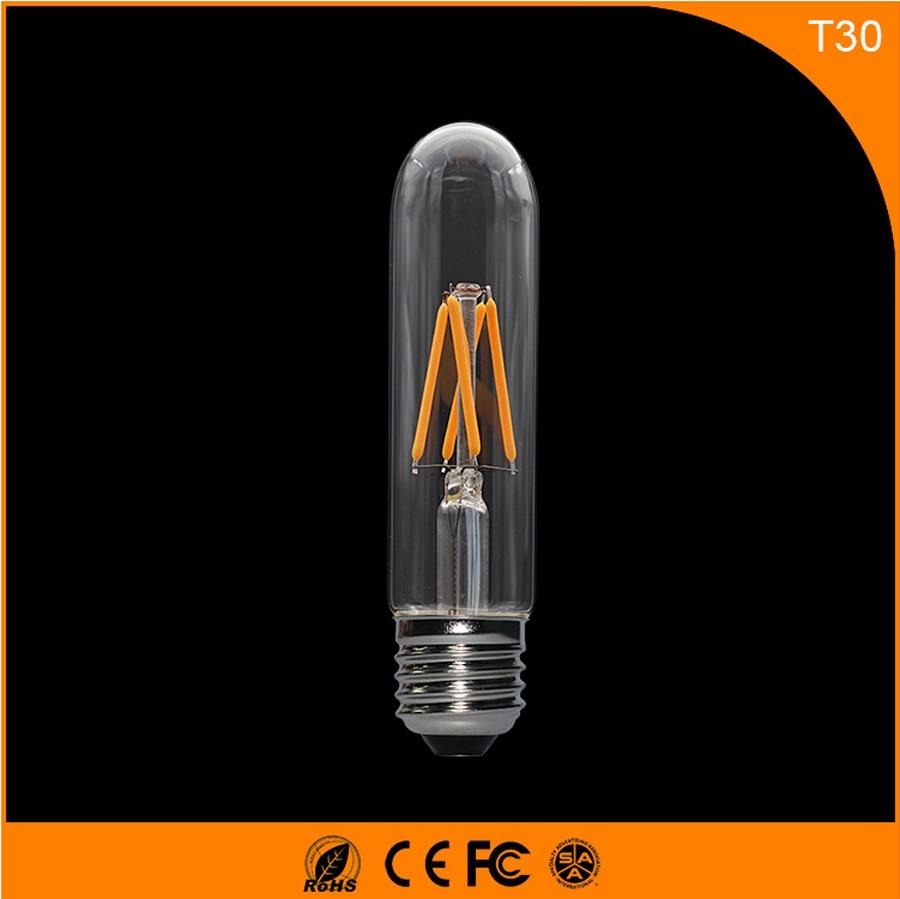 50PCS 3W E27 B22 Led Bulb, T30 LED COB Vintage Edison Light ,Filament Light Retro Bulb AC 220V 5pcs e27 led bulb 2w 4w 6w vintage cold white warm white edison lamp g45 led filament decorative bulb ac 220v 240v