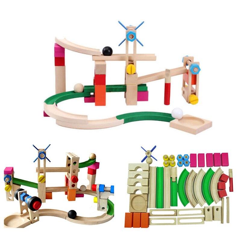 Jeu de blocs de construction en bois modèle de montagnes russes Puzzles à billes en bois piste amis jouets éducatifs précoces pour enfants