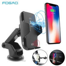 FDGAO 10W Qi Wireless Car Charger Holder For iPhone XS Max XR 8 Plus Automatic Fast Mount Wireless Charging For Samsung S9 S8 S7