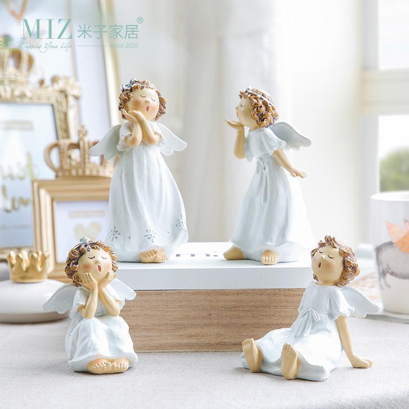 Miz 1 Piece Singing Angel Lovely Ceramic Figurine Singer Girl Handmade Craft Home Decoration Statue Birthday Gift for Family ...