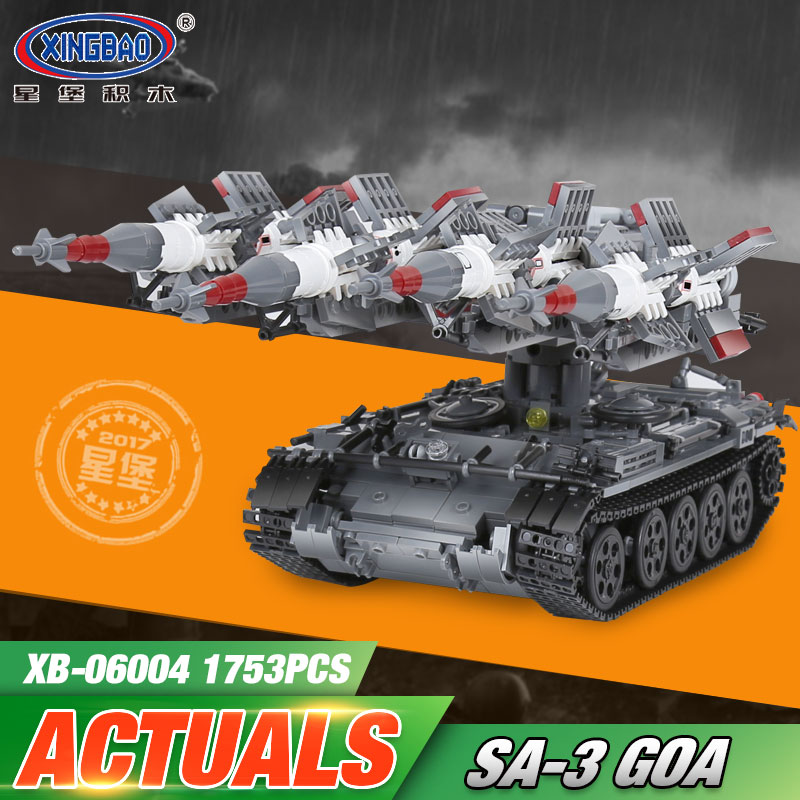 Xingbao 06004 1753Pcs Military Series The SA-3 missile and T55 Tank Set Children Educational Building Blocks Bricks Toys Gifts xingbao 06009 military series the extreme snowmobiling sets legoinglys building nano blocks bricks toys for children kids