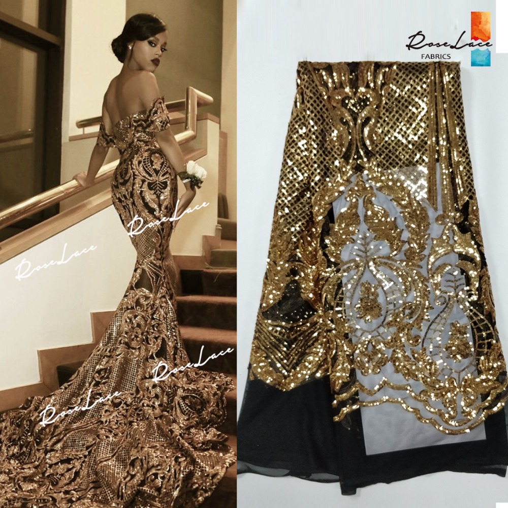Beautiful Design Sequined Embroidered Mesh Lace Fabric For Women Party Dress Lace African Gold Sequins Guipure