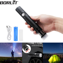 BORUiT Powerful T6 LED Flashlight Zoomable Focus Lamp Adjustable USB charge Waterproof Portable Camping Equipment Torch lamp