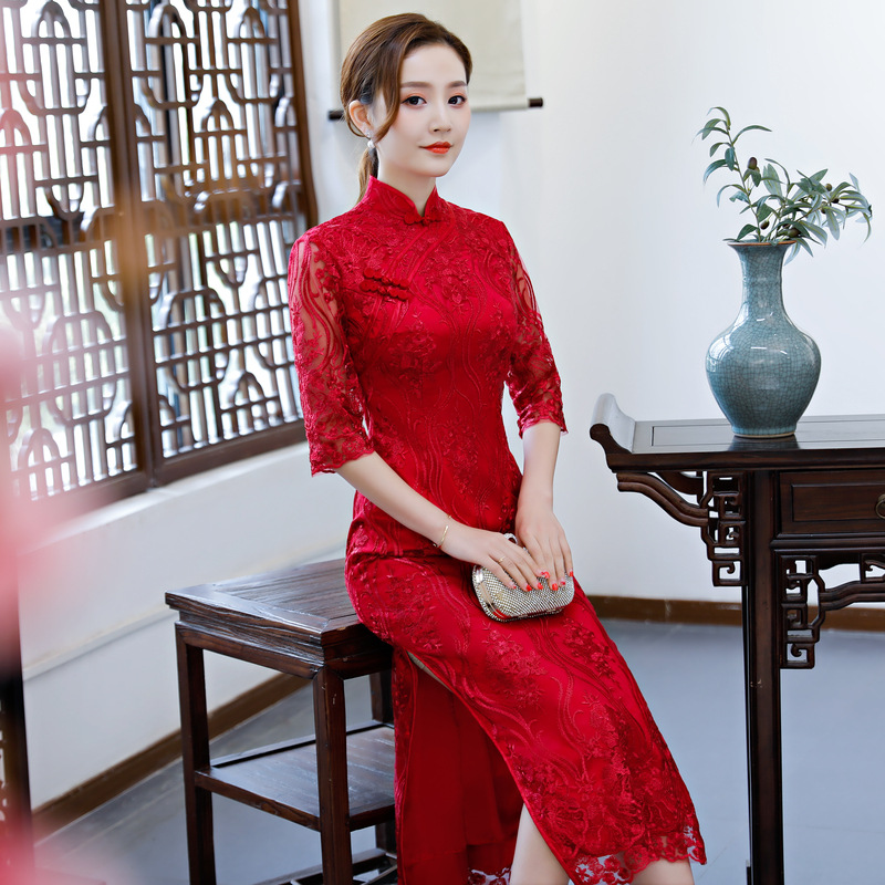 Red Retro Embroidery Cheongsam Vintage Chinese Style Womens Long Qipao Sexy Slim Party Evening Dress Summer Vestido Size S-XXXL
