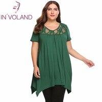 IN'VOLAND חולצות מזדמנים חולצות של נשים בתוספת גודל V-צוואר קצר שרוול תחרת מעשה טלאים קפלים Loose ארוך חולצת טי Tees Oversied 4XL
