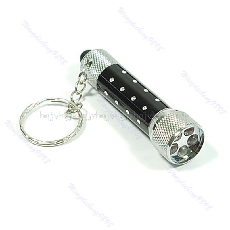 Ultra bright Mini 5 LED Flashlight Torch Key Chain Key Ring Keychain Black JUL04