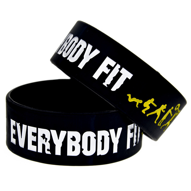 OneBandaHouse 1PC Inch Wide Sport Bracelet Everybody Fit No Pain No Gain Silicon