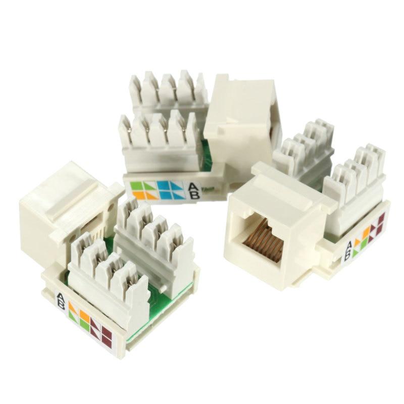 10pcs/bag RJ45 Module Unshielded Key stones Jack Cat5e Network Ethernet 110 Punch Down 8P8C RJ45 Connection Adapter Socket