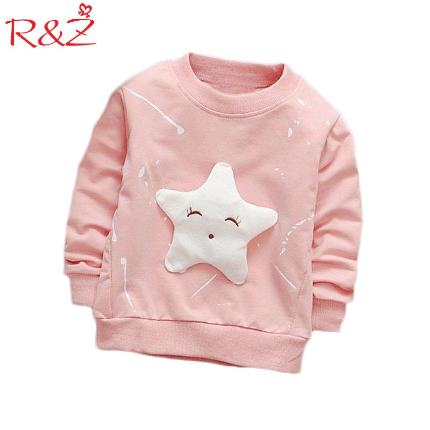 R & Z футболка 2017 көктемгі және күзгі қыздар мультфильм ұзын жейде дөңгелек мойын мақта мультфильм көйлек балалар сән тенденциясы