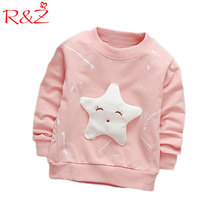 R Z T shirt 2018 spring and autumn girls cartoon long sleeved round neck cotton cartoon