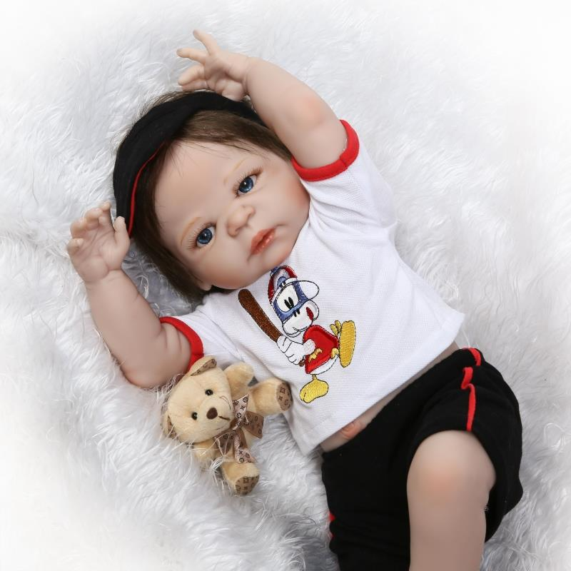 New 55cm Full Body Silicone Reborn Baby Boy Doll Toys Rooted Hair Newborn Boy Babies Toddler Dolls Bathe Toy Birthday Present full silicone body reborn baby doll toys lifelike 55cm newborn boy babies dolls for kids fashion birthday present bathe toy