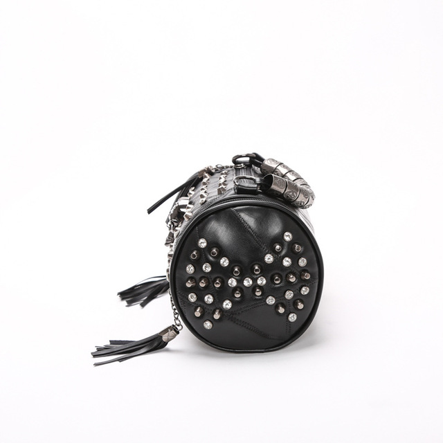 Leather Tassels Skull Handbag