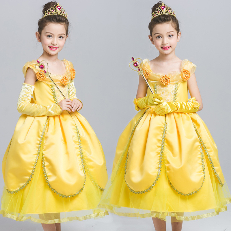 4-10Years Kids Girl Beauty and Beast Belle Dress Children's Day Carnival Costume Belle Princess Dress Halloween Vestido Clothes new 2016 kids girl beauty and beast cosplay carnival costume kids belle princess dress for christmas halloween fantasia infantil