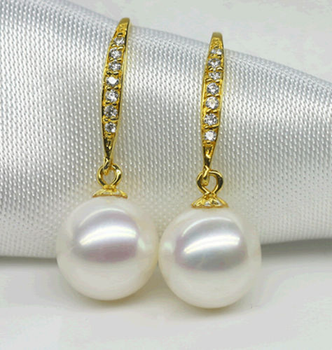 FREE Shipping Round 10-11 MM AAA+ WHITE SOUTH SEA PEARLS EARRING цена и фото