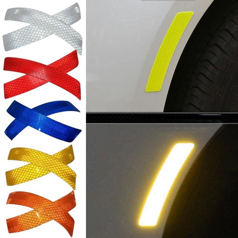 все цены на 2Pcs Car Reflective Strip Stickers Warning Wheel Rim Eyebrow Safety Warning Light Reflector Protective Sticker Car Styling онлайн