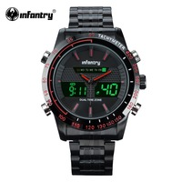 INFANTRY Mens Sports Wristwatches Casual Quartz Watch Red Hands New Clock For Male Dual Time Military