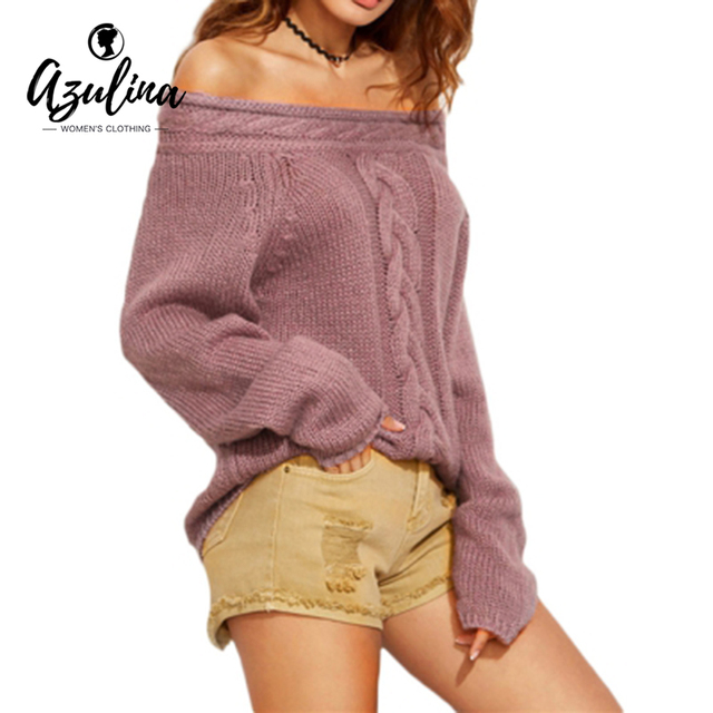 AZULINA Women Sexy Autumn Sweater Long Sleeve Off Shoulder Warm Knitted Pullovers Pull Femme Hilver Slash Neck Fashion Sweaters