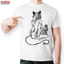Sexy Strip Tail Cat Girl T Shirt Design Inspired By Fashion Tattoo T shirt Cool Casual