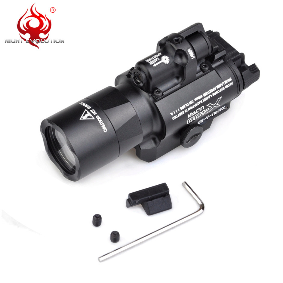 Image 2 - Night Evolution Element X400U ULTRA LED Airsoftsports Tactical Softair Weapon Flashlight With Red IR Laser Hunting Light NE01009-in Weapon Lights from Sports & Entertainment